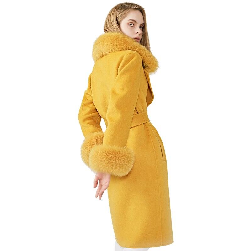 Women's Wool Coat Spring Real Fox Fur Collar Woolen Jacket Adjustable Waist Slim Ladies Long Overcoat
