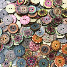 100Pcs 15mm/20mm/25mm New Mixed Wood Buttons Vintage Colorful Flowers Scrapbooking Sewing Craft Handmade Clothes Decor