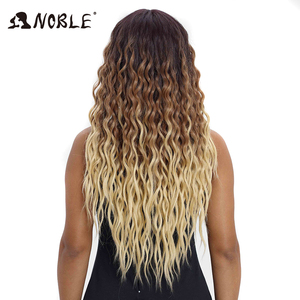 Image 4 - Noble Hair Wigs For Black Women Synthetic Lace Front Wig 28 Inch Long Curly Hair Blonde Ombre Hair Wigs Synthetic Lace Front Wig