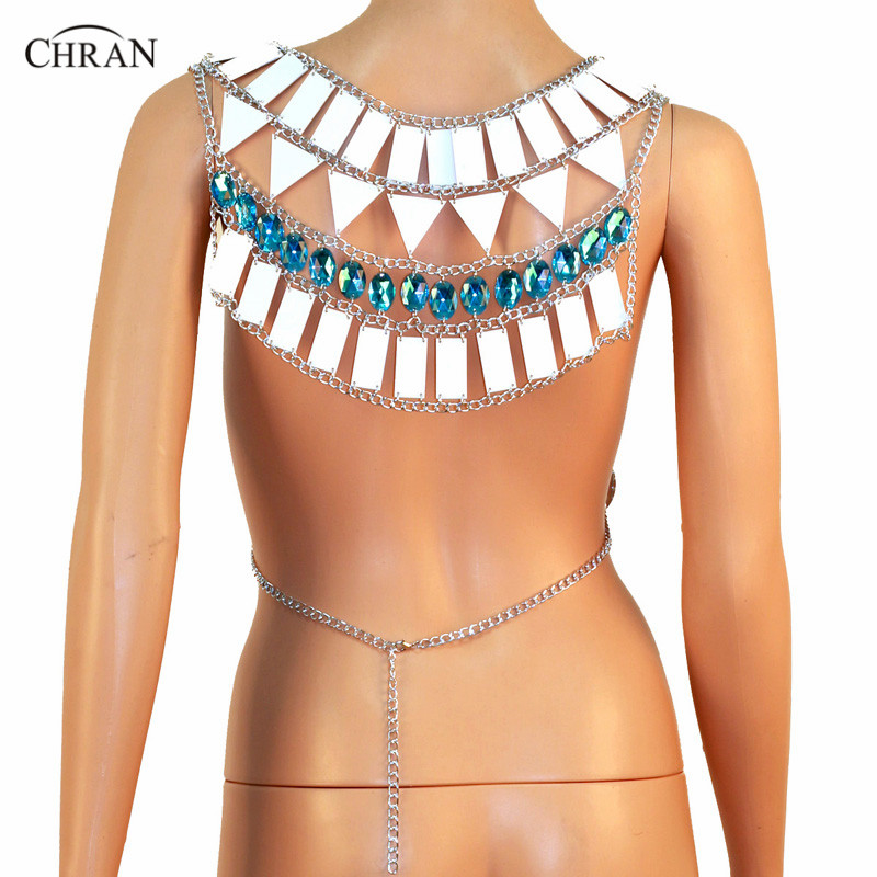 Chran Perspex Crop Top Sonus Festival Bra Harness Necklace EDC Outfit Wear Body Lingerie Metallic Bikini Tank EDM Jewelry CRM804