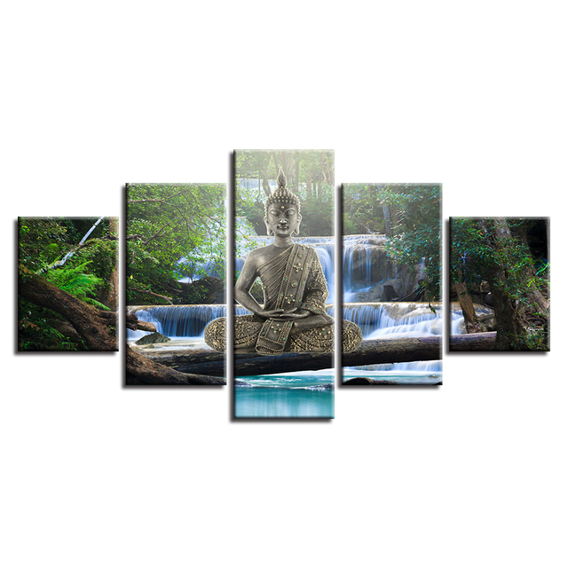 tableau-deco-bouddha-zen-decoration-murale-5-parties-cadre-zen-nature-boudda-art-zen