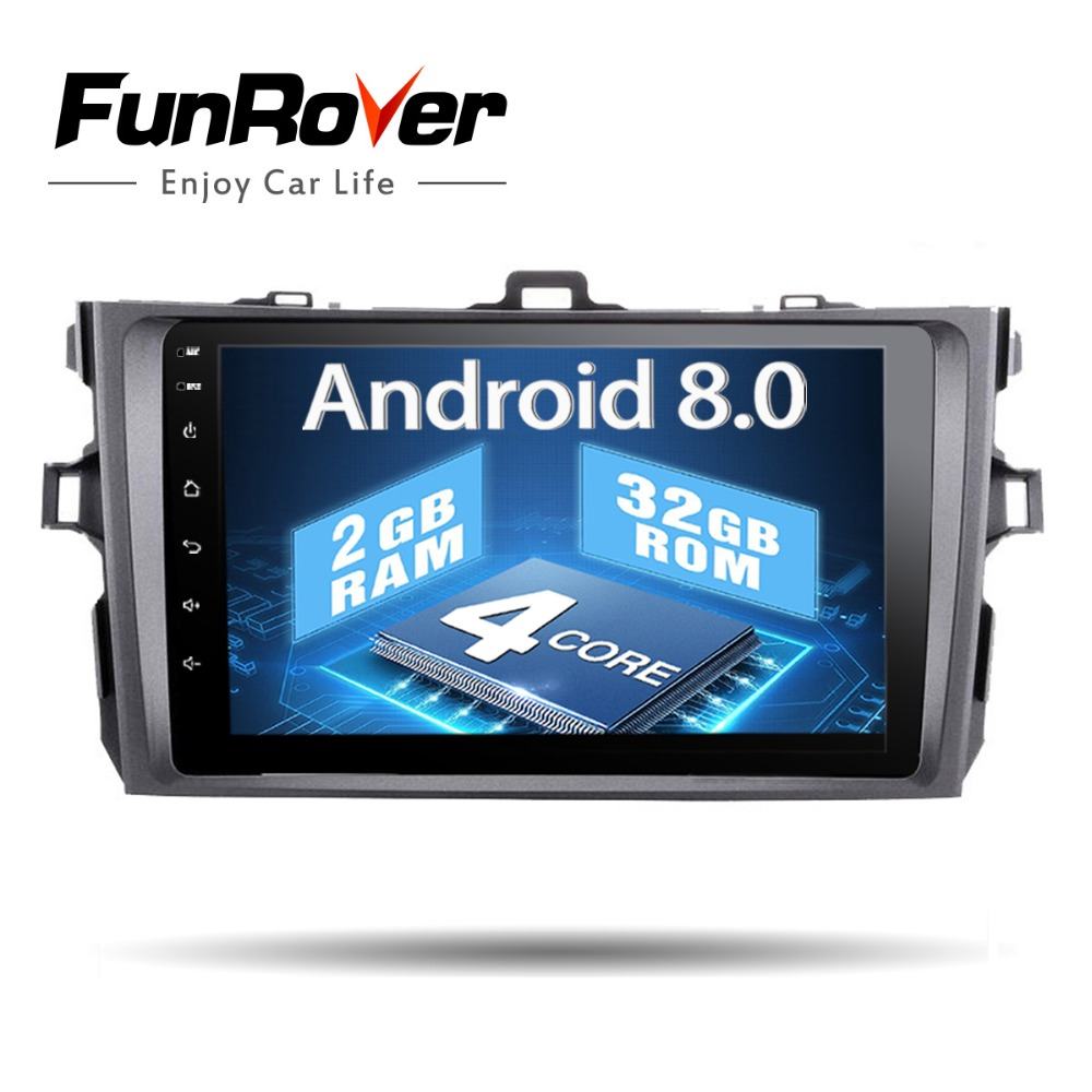 Funrover 2g + 32 gb 8 2 Din Voiture Radio Dvd Gps Lecteur Android 8.0 Indash Pour Toyota corolla 2007 2008 2009 2010 2011 magnétophone