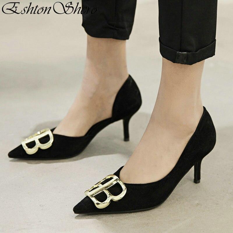 04fe27fa72 EshtonShero Shoes Woman Pumps Cow Suede Platform Thin High Heels Solid Classic  Pointed Toe Black Ladies Wedding Shoes Size 3-12