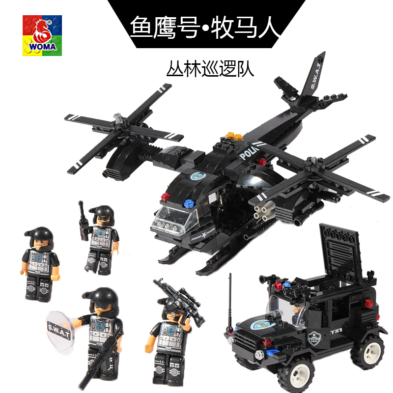 ФОТО DIY Building Blocks Toys WOMA C0533 Educational Toy armoured helicopter car 594 pieces