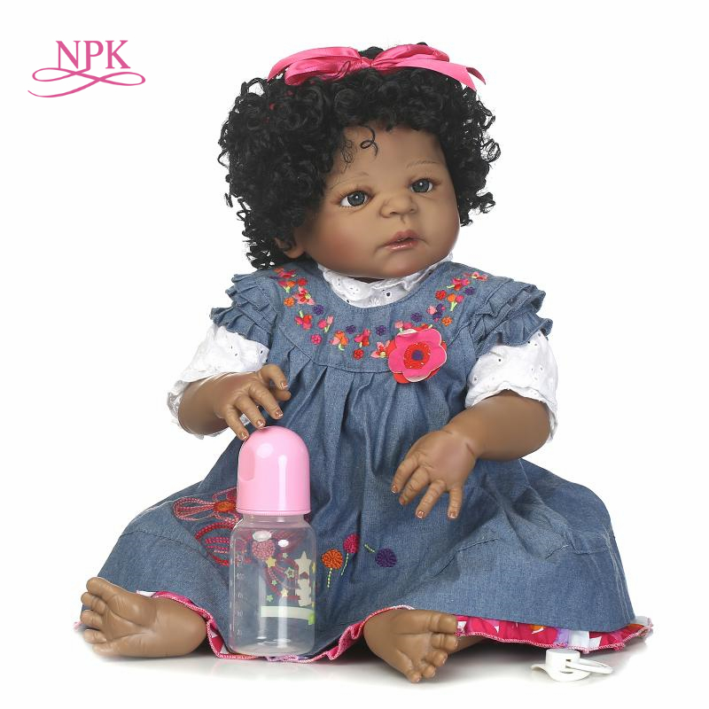 NPK reborn doll with soft real gentle touch free shipping black girl full vinyl doll best