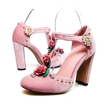 Flower Decor T-bar Pumps Mary Janes Round Toe Crystal Rivet Embellished Chunky Heel Cover Heel Woman Dress Classic Shoes new arrival crystal embellished woman sandal green big flower butterfly knot decor wedge pumps 11cm high braided heel woman shoe