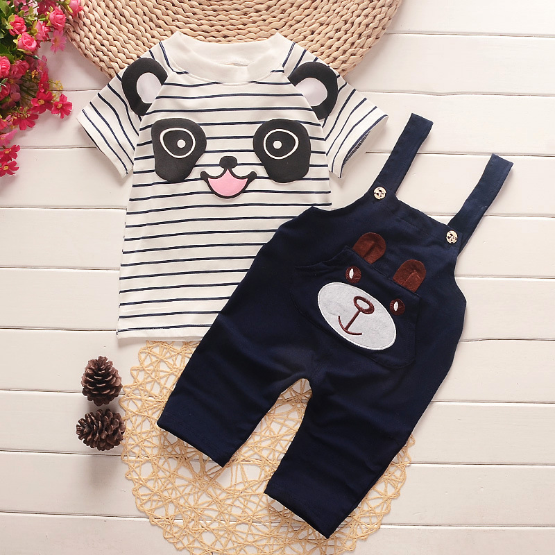 Summer 2016 Fashion Kids 2pcs Clothes Suit Baby Boy T-shirt Top+ Bib Pants Outfit Set Children Gentleman Clothing Sets new 2018 spring fashion baby boy clothes gentleman suit short sleeve stitching plaid vest and tie t shirt pants clothing set