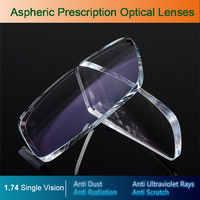 Gafas de visión única 1,74, gafas ópticas asféricas, gafas de prescripción, lentes de grado, gafas, receta, lentes de corrección de visión
