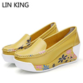 LIN KING NEW Slimming Shoes Women Fashion Leather Casual Shoes Women Fitness Lady Swing Shoes Top Quality Breathable Sapatos