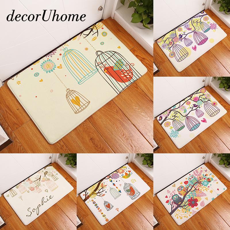 DecorUhome Waterproof Floor Mat Cartoon Flower Owl Cage Kitchen Rugs  Bedroom Carpets Decorative Stair Mats Home