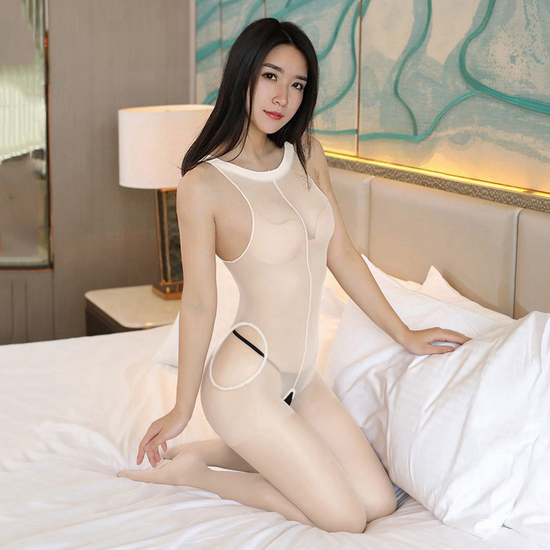 Crotchless Sheer Bodystocking Hollow Full Body Vest Pantyhose Ultra-thin 15D Transparent Open Crotch Strap Tights Stocking