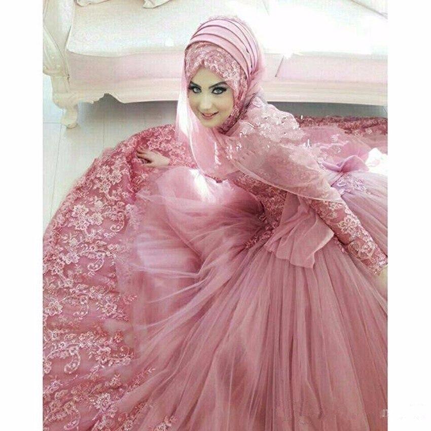 Muslim Brautkleider 2019 Applique Long Sleeves High Neck Lace Islamischen Hochzeit Kleid Vintage Dubai Brautkleider - 3