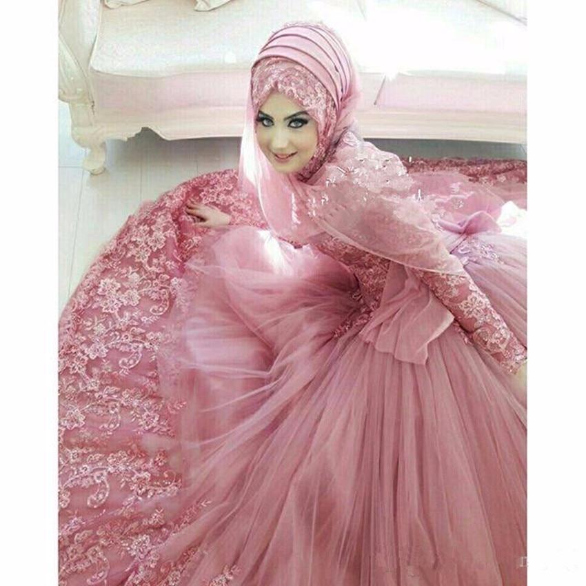 Robes de mariée musulmane 2019 Applique manches longues col haut dentelle robe de mariée islamique Vintage Dubai robes de mariée - 3