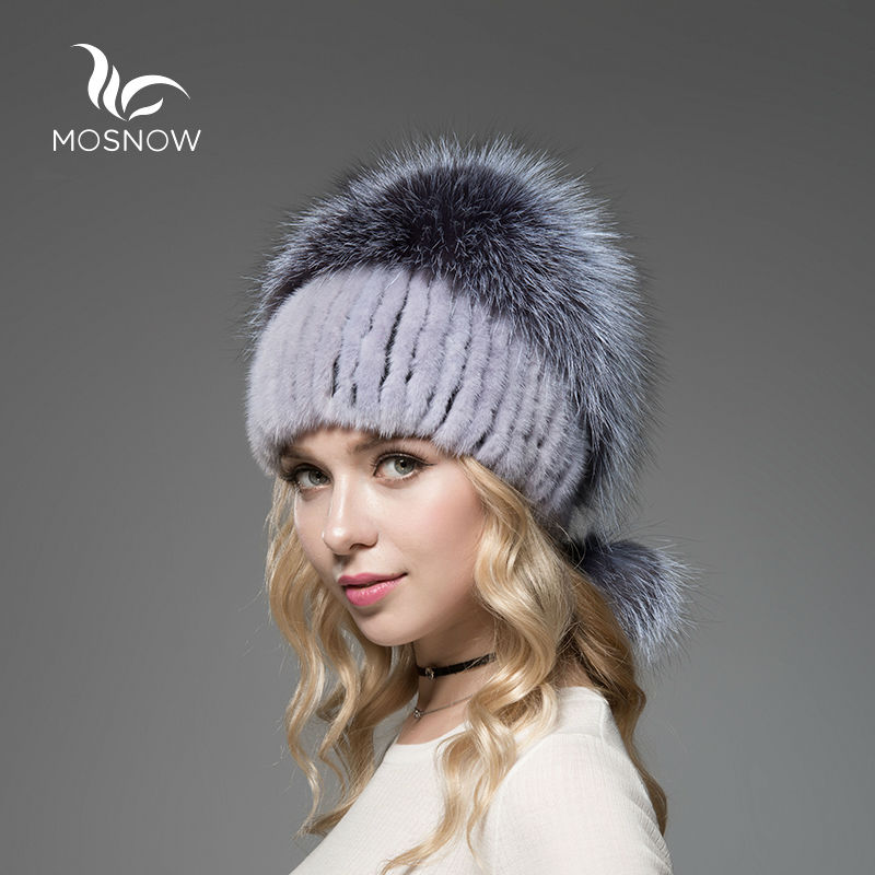 New 2019 Real Mink Fur Woman Winter Hats Silver Fox Pompons Stripe - Apparel Accessories - Photo 2