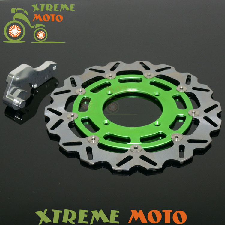 Green 320 Flaoting Brake Disc + Bracket For Kawasaki KX125 KX250 KX250F KX450F KLX450R Motocross Enduro Supermoto Dirt Bike