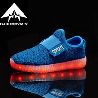 2016 New Baby Kids 7 Color LED Light Shoes Summer Girls Boys USB Charge Luminous Shoe