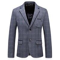 Gris verificación Formal Blazer hombres Brown Plaid Casual traje Slim Fit chaqueta hombres 2018 nueva primavera boda trabajo para hombre CD9
