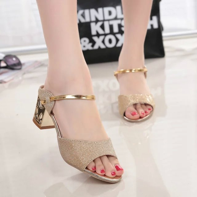 c751e6e32f4e 2016 High Heels Sandals Gold Sliver Ankle-Wrap Women Sandals Beautiful  Ladies Sandals Summer Shoes Gladiator Heels 286
