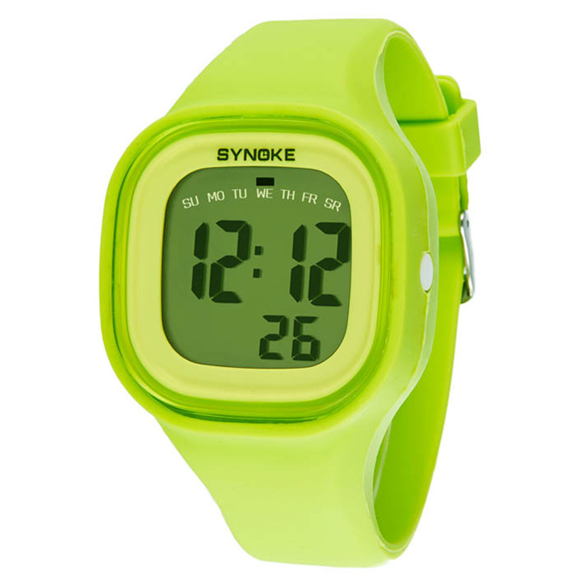 1PC Fashion Boys Girls Clock Bright Color Silicone Band Waterproof Watch LED Light Digital Sport Wrist Watches Creative July06