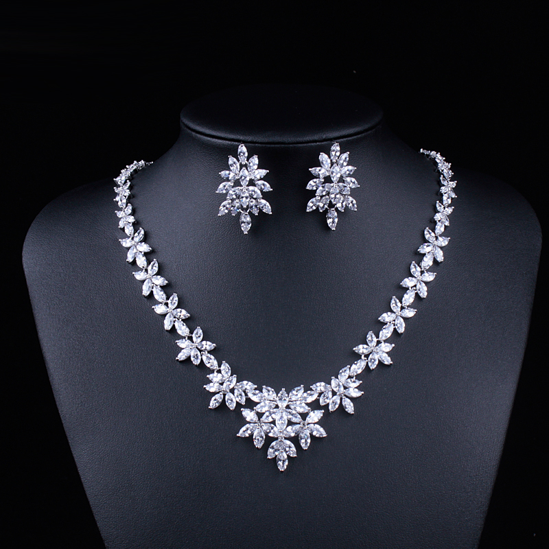 Image 2 - WEIMANJINGDIAN White Gold Color Plated Cubic Zirconia Floral  Design Zircon CZ Necklace