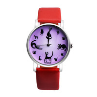 Новые модные часы кожаный ремешок кварцевые часы Повседневное Роскошные Простой маленькие круглые Форма Бизнес светодиодный наручные час