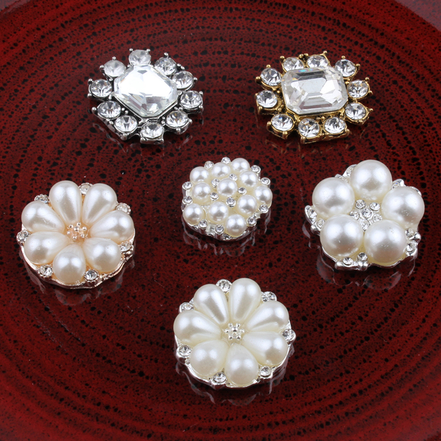 10PCS Vintage Handmade Flower Rhinestone Buttons Bling Flatback Crystal Pearl  Decorative Buttons Flower Center Craft Supplies 5ab834728b32