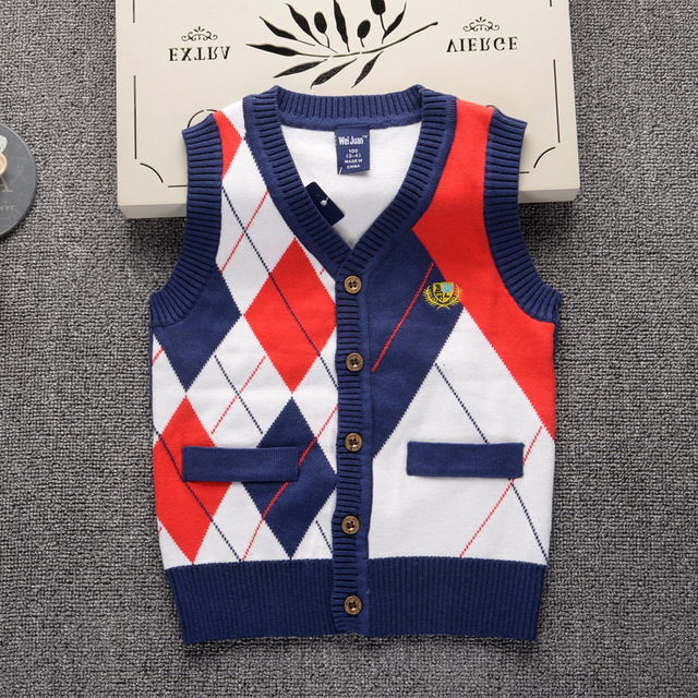 796a53f1c Children s Vest 2018 New Fashion Brand Design Sweater Vest for Boys ...