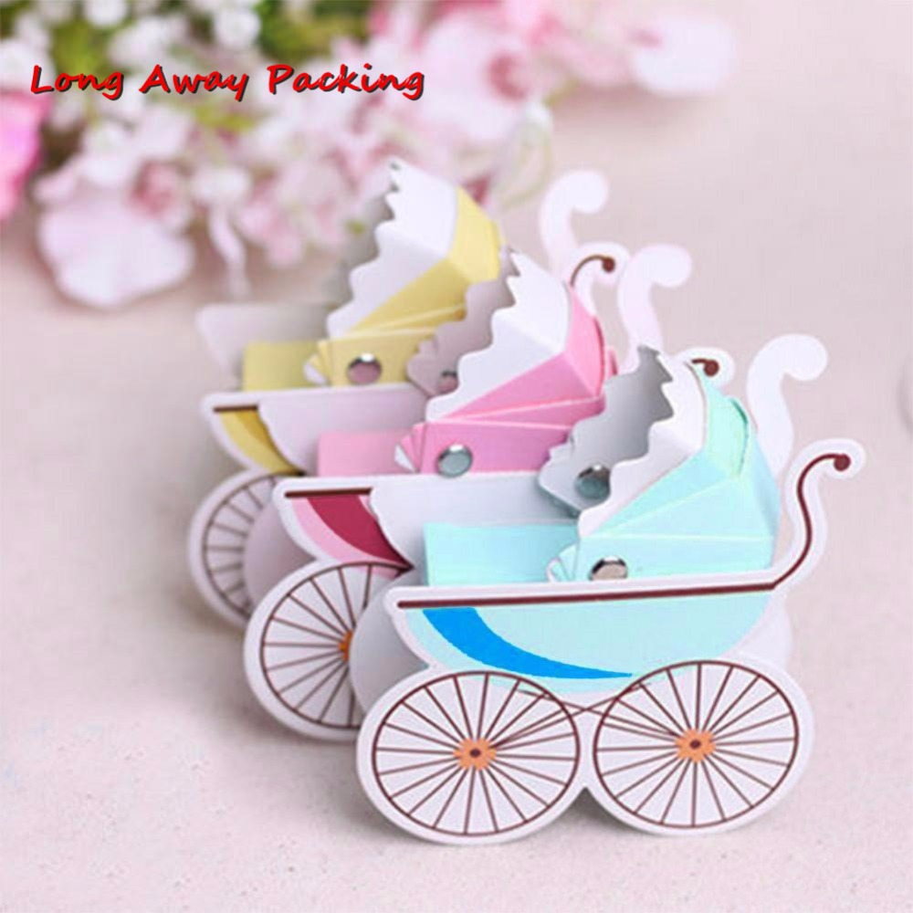 Long Away Packing Baby Shower Newborn Baby Candy Box Lovely Mini Stroller Candy Boxes Lovely Babyshower Kid's Party Gift Boxes