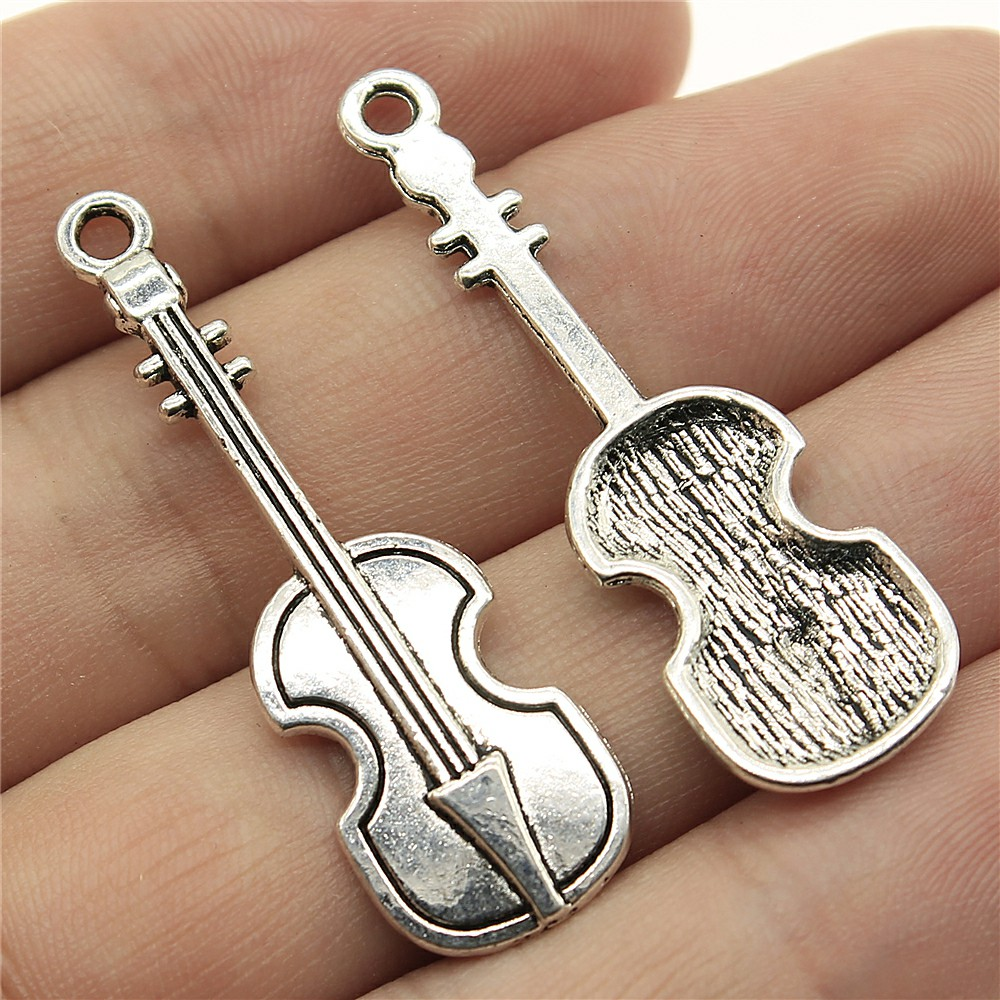 WYSIWYG 10pcs 42*13mm Musical instrument violin Pendants Charms Findings Jewellery Making Findings for DIY Craft