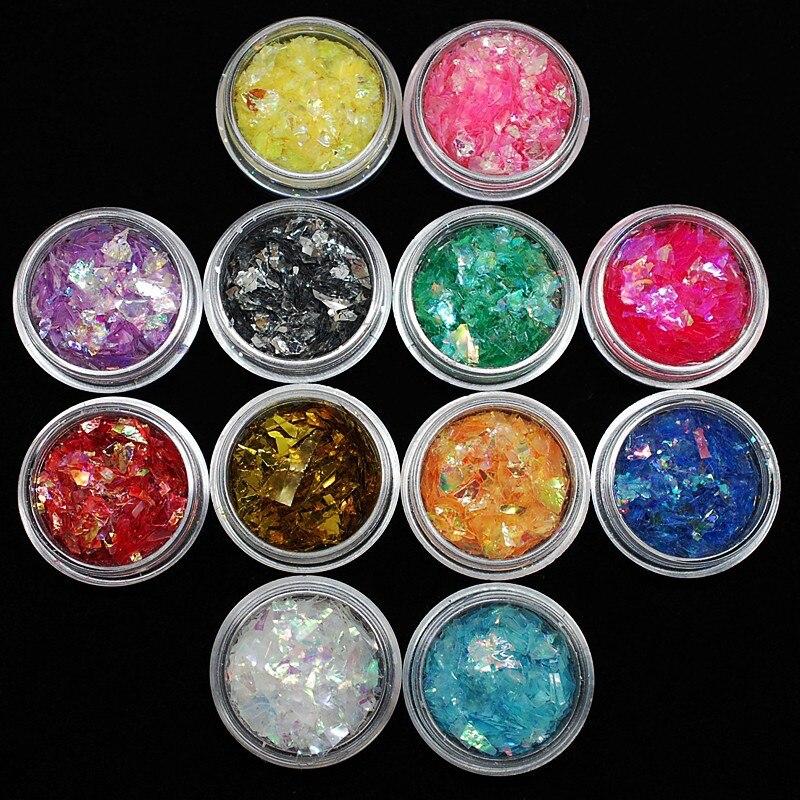 Nagelglitzer Beliebte Marke 12 Töpfe/set 3d Tipps Splashed Shell Papier Chips Shiny Ice Mylar Blatt Uv Gel Acryl Nail Art Dekoration 12 Farben