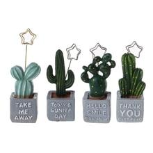 Милый держатель для карт, кактус, растение из смолы, украшение, канцелярские принадлежности, держатель для фотографий, офисные школьные принадлежности