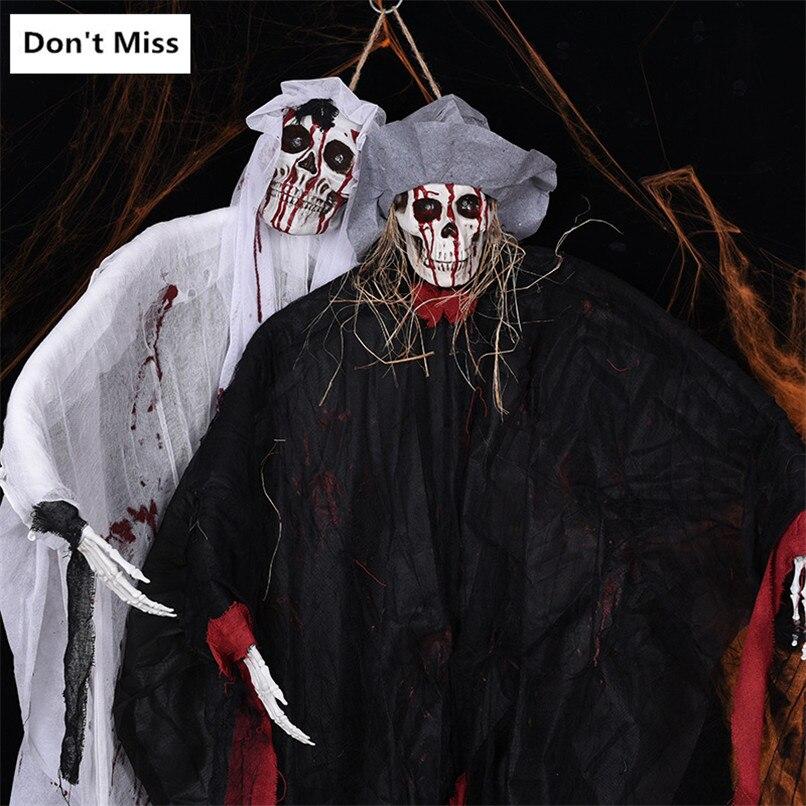 Halloween horreur décoration Vioce contrôle tête de crâne lumineux accessoires fantasmagorique grande pendaison fantôme noir blanc fantôme Costume fête
