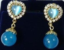 pendientes long sterling silver jewelry earring simple Genuine Light Green Jade Stud Earrings New