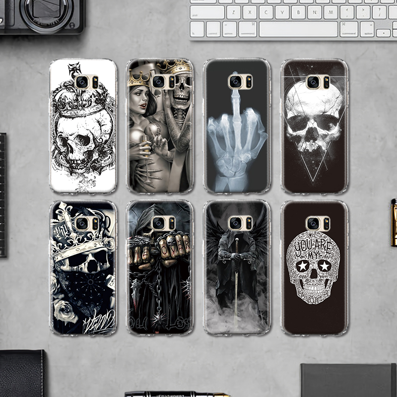 Galleria fotografica Rock and Roll Crown Skull Head Soft Back Cover for Samsung Galaxy J3 J5 J7 A3 A5 A8 2015 2016 2017 2018 Silicone Case Fundas