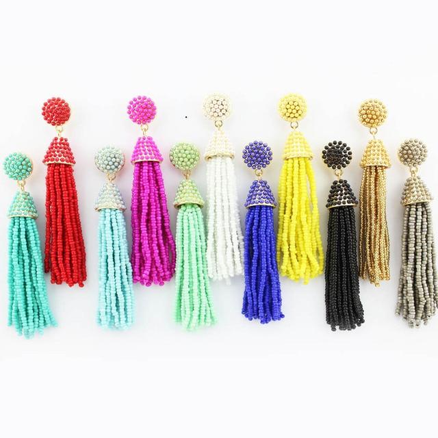 ZWPON 2018 хит продаж бисер кисточкой серьги для женщин ручной работы длинные серьги богемные модные ювелирные изделия массивные серьги