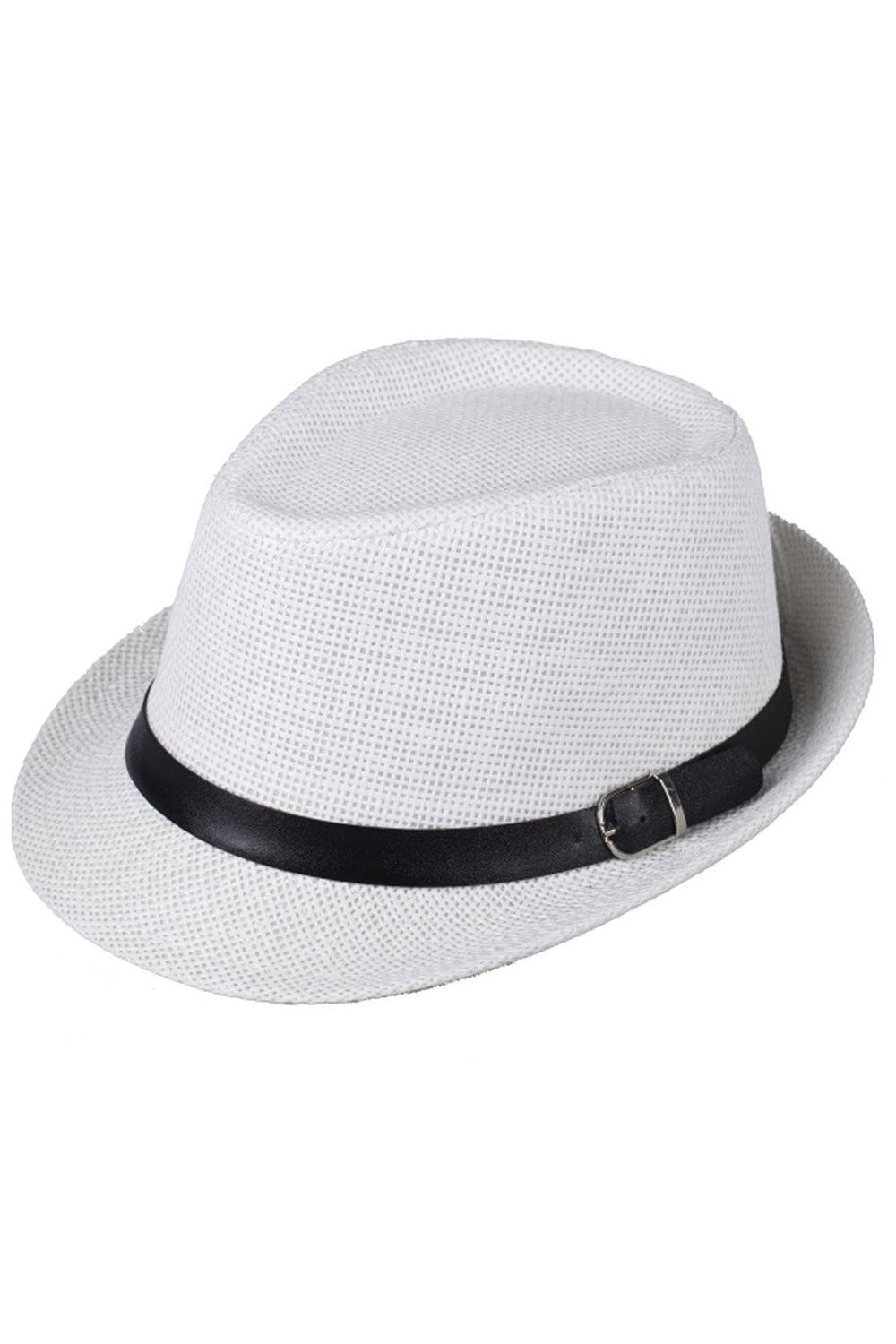 765dfc0155c Hat Boys Fedoras Trilby Cap Straw Beach Sunhat With Belt White ...