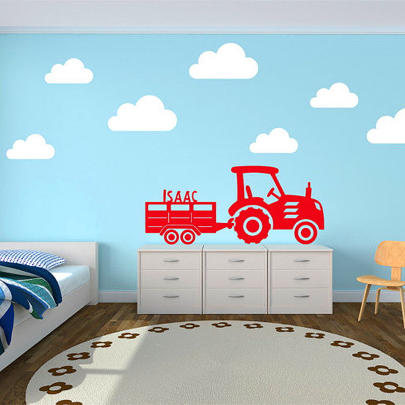 Custom Childu0027s Name Decals Tractor And Trailer With Clouds Wall Sticker  Vinyl Mural Sticker For Kids Room Wall Art Home Decor In Wall Stickers From  Home ... Part 27