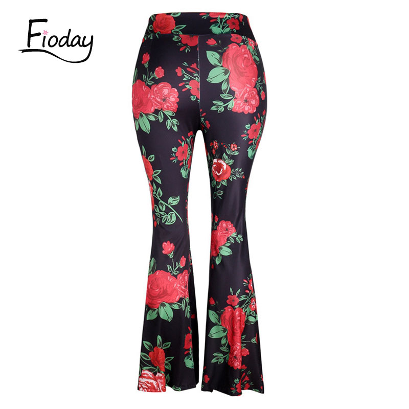 2018 Women New Fashion Vintage High Waist Flower Print Long Flare Pants Multi Color Casual Boho Hippie Pants Hot in Pants amp Capris from Women 39 s Clothing