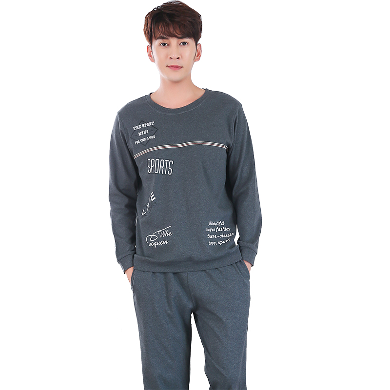 100% Cotton Pajamas Men Home Wear Suit Long Sleeve Pullover Plus Size Pajama Set Spring Autumn Two Piece Set Printing Pijama