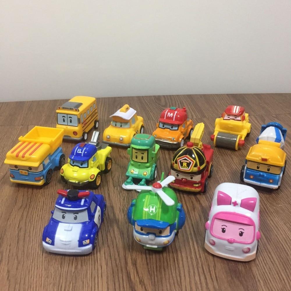 12pcs/Box New Korea Robocar Poli  Anime Action Figure Toys Robocar Poli Pull Back Robot Car Model Toys  For Kids Best Gift