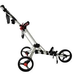 PLAYEAGLE Golf Carrello di Spinta Girevole Pieghevole 3 Ruote Tirare Carrello Carrello di Golf con Portaombrelli Golf Cart bag carrier