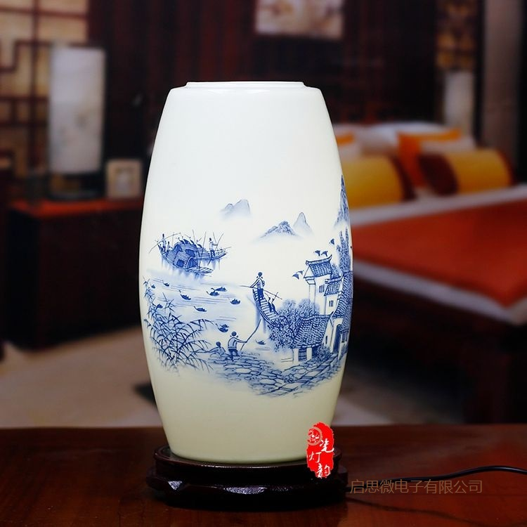 New Chinese Style <font><b>table</b></font> <font><b>lamp</b></font> wooden <font><b>base</b></font> e27 holder <font><b>Ceramics</b></font> <font><b>Table</b></font> <font><b>Lamp</b></font> For Living Room Bedroom retro bedside <font><b>lamp</b></font> Modern desk image