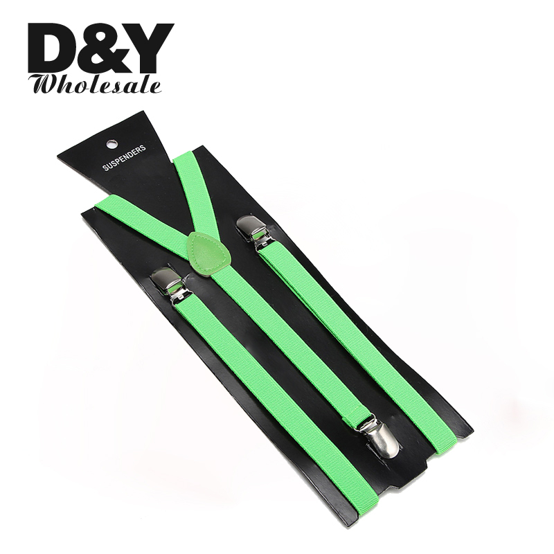 2 Pcs Wholesale 1.5cm Neon green Slim suspender Adjustable Clip-on Elastic Braces Slim Suspender Y-back Suspenders/gallus