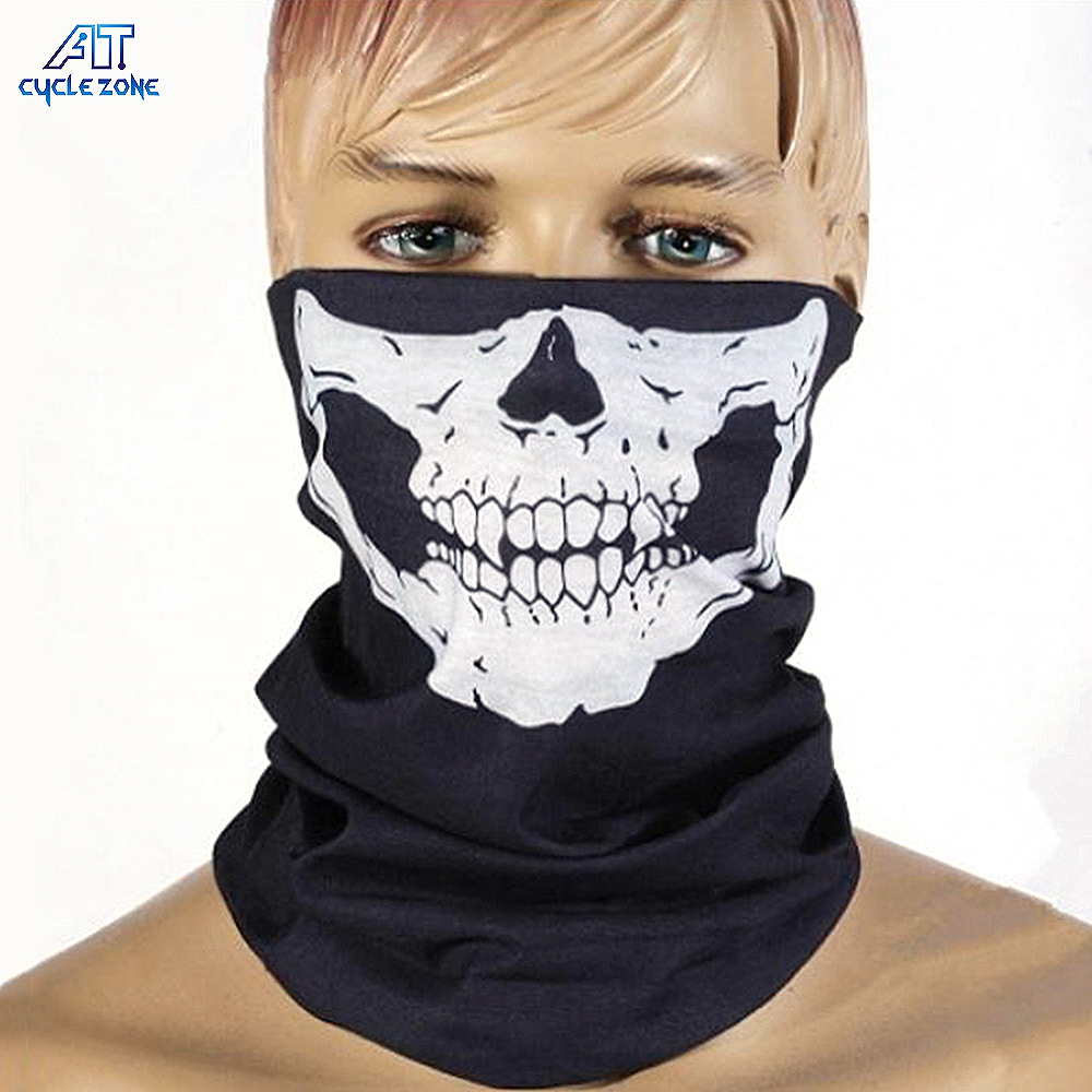 2pcs/set Seamless Skull Face Mask Airsoft Breathable Motorcycle Bike training mask Skeleton Headwear Bandana Sport Head Scarves