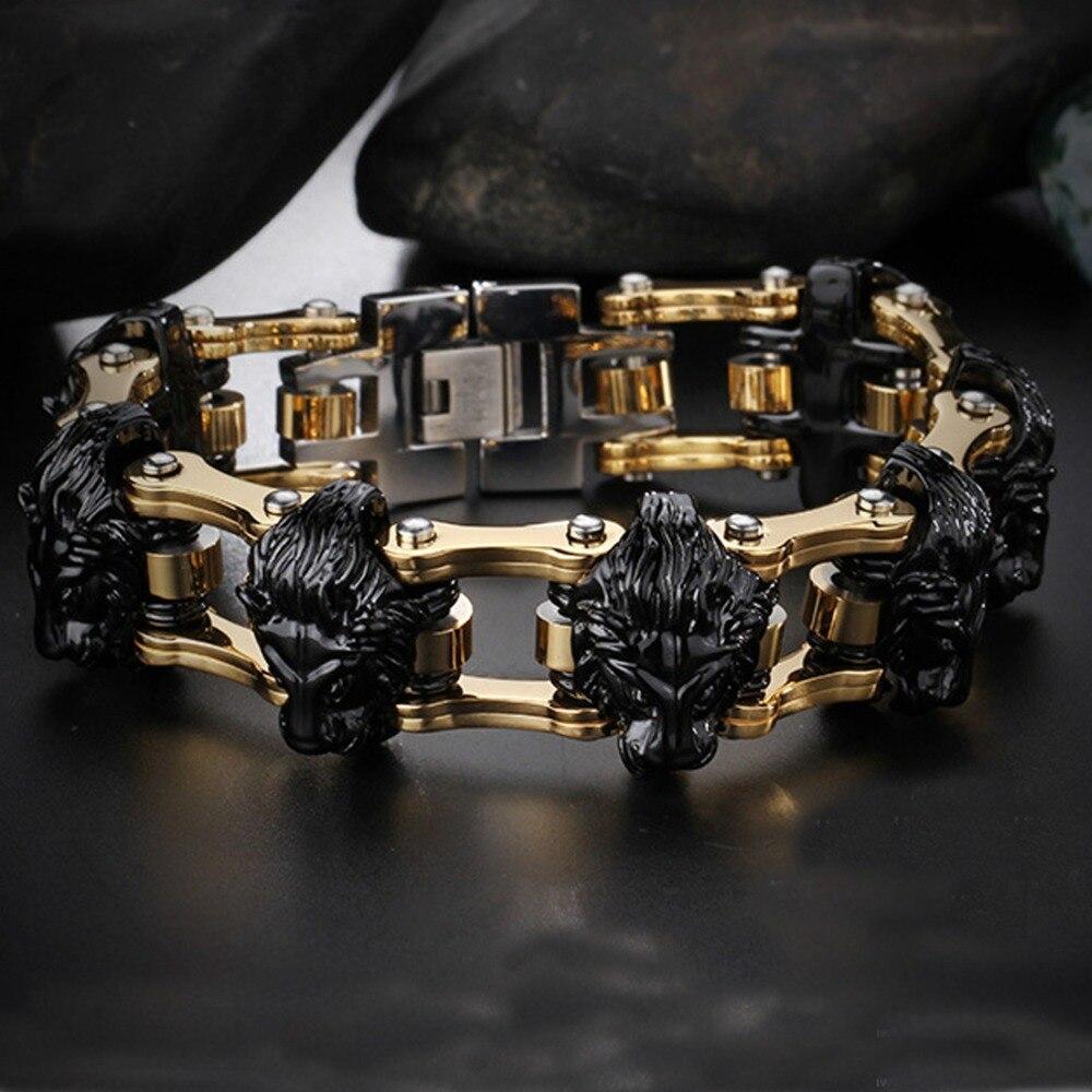 22.5mm Cool bijoux en acier inoxydable or noir moteur Biker chaîne Punk Lion tête Bracelet hommes Bracelet Bracelet 8.26
