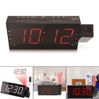 Multifunction Projection Alarm Clock LED FM Radio Digital Timer Bedroom Snooze E2S