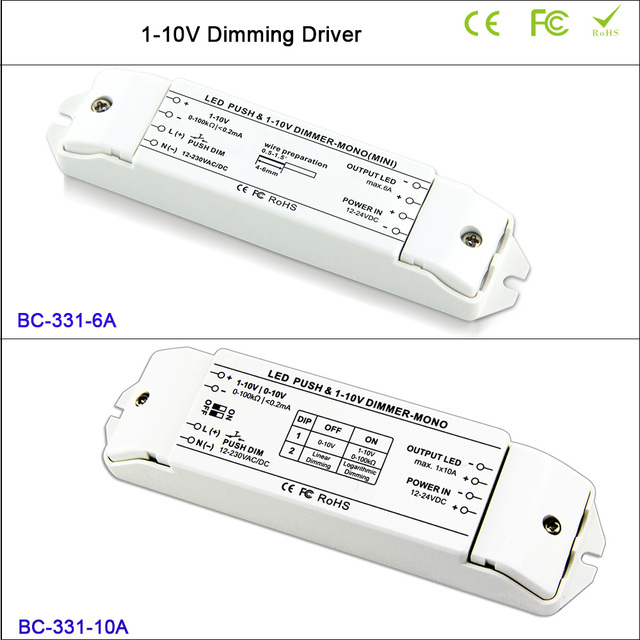 6A*1CH or 10A*1CH LED Dimmer fluorescent lamps dimmer 0/1-10v LED lamp dimming driver push dimmer,DC12V-DC24V