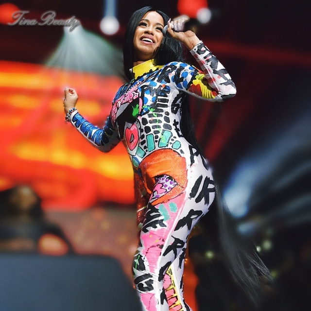 d1b96bf7a133 Tina Beauty Celebrity Skinny Cardi B High Neck Long Sleeve Graffiti Jumpsuit  Silky High Quality Rompers Womens Jumpsuits