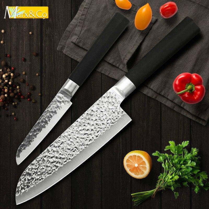Cuchillos de cocina 4 7 pulgadas Acero inoxidable al carbono 5CR15 japonés cocina Chef Santoku Cleaver fruta Paring rebanar conjunto
