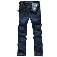 Plus Size 30~44 Men's Casual Business Straight Jeans Pants Fashion Cotton Zipper Brand Clothing Denim Autumn Winter Soft Hot New
